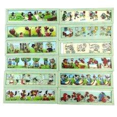 Set of 12 Germany Magic Lantern Cartoon Glass Slides - Mickey Mouse
