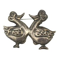Old Mexican Silver Wacky Quacky Duck Pin Handmade Twins