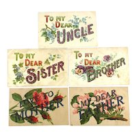 Five c1910 Postcards To My Dear --- Sister Brother Father Mother Uncle