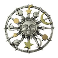 Vintage JJ Moon Pin w/ The Whole Celestial Shebang
