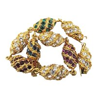 JBK Jacqueline Kennedy Link Bracelet w/ Crystal Rhinestones
