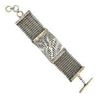 Big Hefty Sterling Silver Cut Ferns Mesh Bracelet
