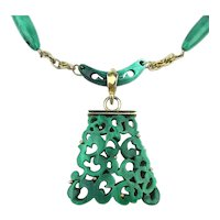HOBE Carved Through Green Swirl Plastic Necklace