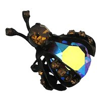 Vintage WEISS Colorful AB Bug Pin Brooch