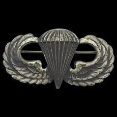 WW II Sterling Silver Jump Wings Pin - Paratrooper