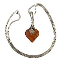 Genuine Amber Sterling Silver Heart Pendant Necklace w / Great Box Chain