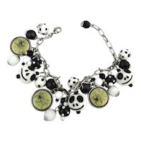 Boo! Ghosts and Spiders Art Glass Charm Bracelet