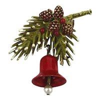 ART Enamel Holiday Bell Pin on Enamel Tree Branch w/ Acorns