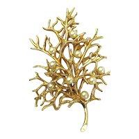 CASTLECLIFF Goldtone Faux Pearl Tree Pin Brooch