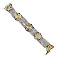 Vintage Turkish Sterling Silver Enamel Bracelet w/ Gold Vermeil
