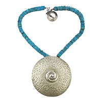 Big Sterling Silver Hammered Disk Necklace w/ Turquoise Heishi Chain
