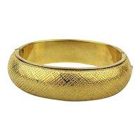 Vintage MONET Hinged Bracelet Impressive Textured Goldtone