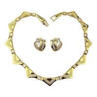 Dress Up Swarovski Crystal Goldtone Necklace Earrings Set