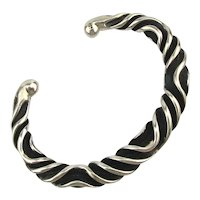 Heavy Modernist Sterling Silver Cuff Bracelet Oxidized Waves