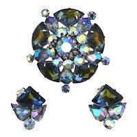 CORO Blazing Blues AB Crystal Rhinestone Pin Earrings Set