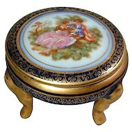 Vintage Limoges France Footed Porcelain Box w/ Romantic Couple