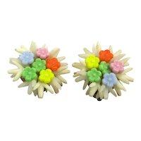 1950s Plastic Flower Cluster Clip Earrings - Western Germany