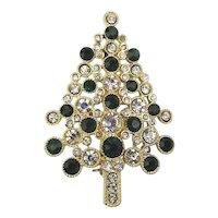 Vintage MONET Crystal Christmas Tree Pin Brooch