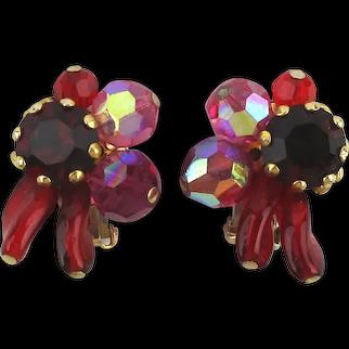Vintage Hattie Carnegie Crystal Glass Clip Earrings