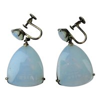 Asian Sterling Silver Opalescent Earrings w/ Hidden Pagoda
