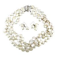 Multi Strand Freshwater Coin Pearl Necklace w/ Earrings Set Sterling Silver