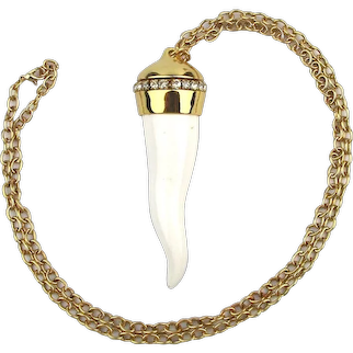 Oversized Italian Lucite ~ Good Luck ~ Horn Pendant Necklace