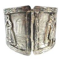 Vintage Peru 925 Sterling Silver Wide Hinged Bracelet Hammered Vignettes