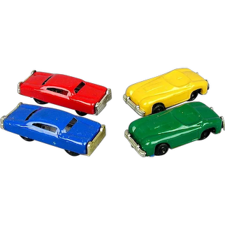 Set of 4 Tin Toy Friction Cars 1950s Japan - Colors