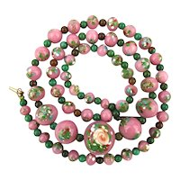 Old Pink Glass Bead Necklace Infused w/ Flowers