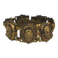 Vintage Bronze Tone Link Bracelet Ornate Victorian Style