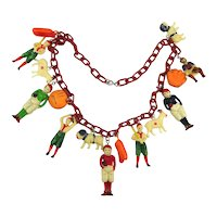 Vintage 1940s Celluloid Charm Necklace Occupied Japan Football Baseball More