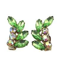 Signed GARNE Rhinestone Clip Earrings 50s Fab