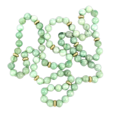 Long Mottled Jade Bead Necklace 14K Gold Spacers 32 Inches 108 Grams