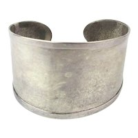 Taxco 925 Sterling Silver Wide Cuff Bracelet Smooth Modernist