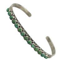 Slim Trim Sterling Silver Navajo Cuff Bracelet Turquoise Row