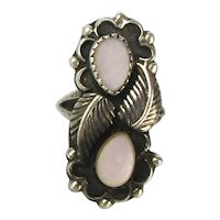 Navajo Sterling Silver Mother of Pearl Ring Signed