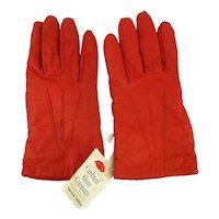 Vintage Pumpkin Colored Leather Gloves Unworn w/ Orig. Cardinal Glove Co. Tag