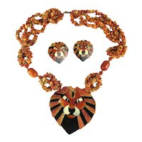 Bold Lee Sands Inlaid Apple Coral Lucite Lion Necklace / Earrings - Book Piece