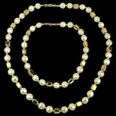 Vintage NAPIER Duo Faux Pearl Gold Box Necklace Bracelet Set
