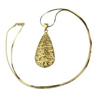 Vintage GV 925 Gold Vermeil Wired Drop Pendant Necklace