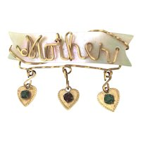 Victorian MOTHER Pin on Mother-of-Pearl w/ Heart Dangles