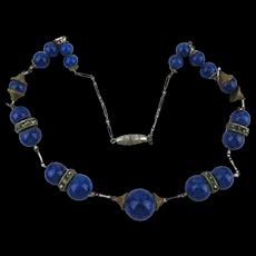 1930s  Czech Lapis Glass Bead Necklace