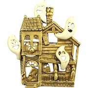 Hunky Halloween Haunted House Pin Brooch Ghosts - Signed AJC