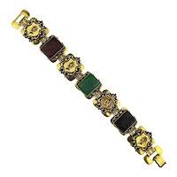 Vintage Glass Stone Intaglio Gilded Link Bracelet Roman Gladiators