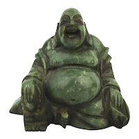 Solid Jade Happy Buddha Figurine Statue