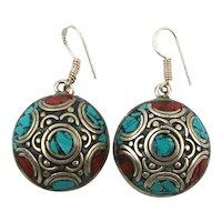 Vintage Tibetan Multi Stone Silverclad Earrings