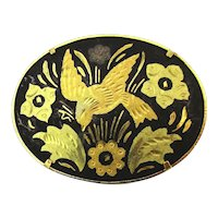 Vintage Damascene Etched Bird Pin Brooch Gold Inlay on Black Niello