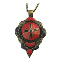 Vintage Tibetan Inlaid Pendant Necklace - A Switch of Colored Stones