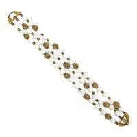 Trifari Trio Milk Glass Bead Bracelet w/ Gilt Porcupine Beads