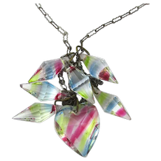 Vintage Iris Glass Heart and Cone Drops Necklace